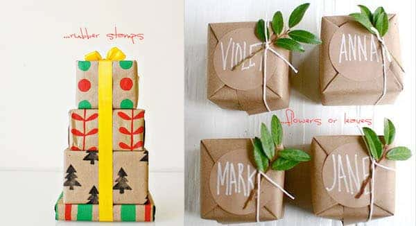 gift wrapping inspiration diy stamp