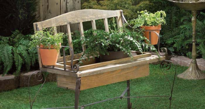 Gardening bench planter box