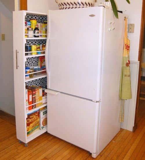 extra storage next to fridge in a small kitchen