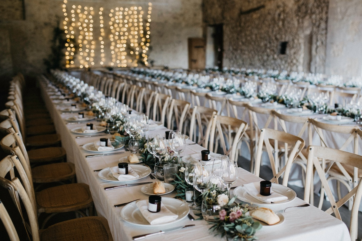 long table dining styled wedding