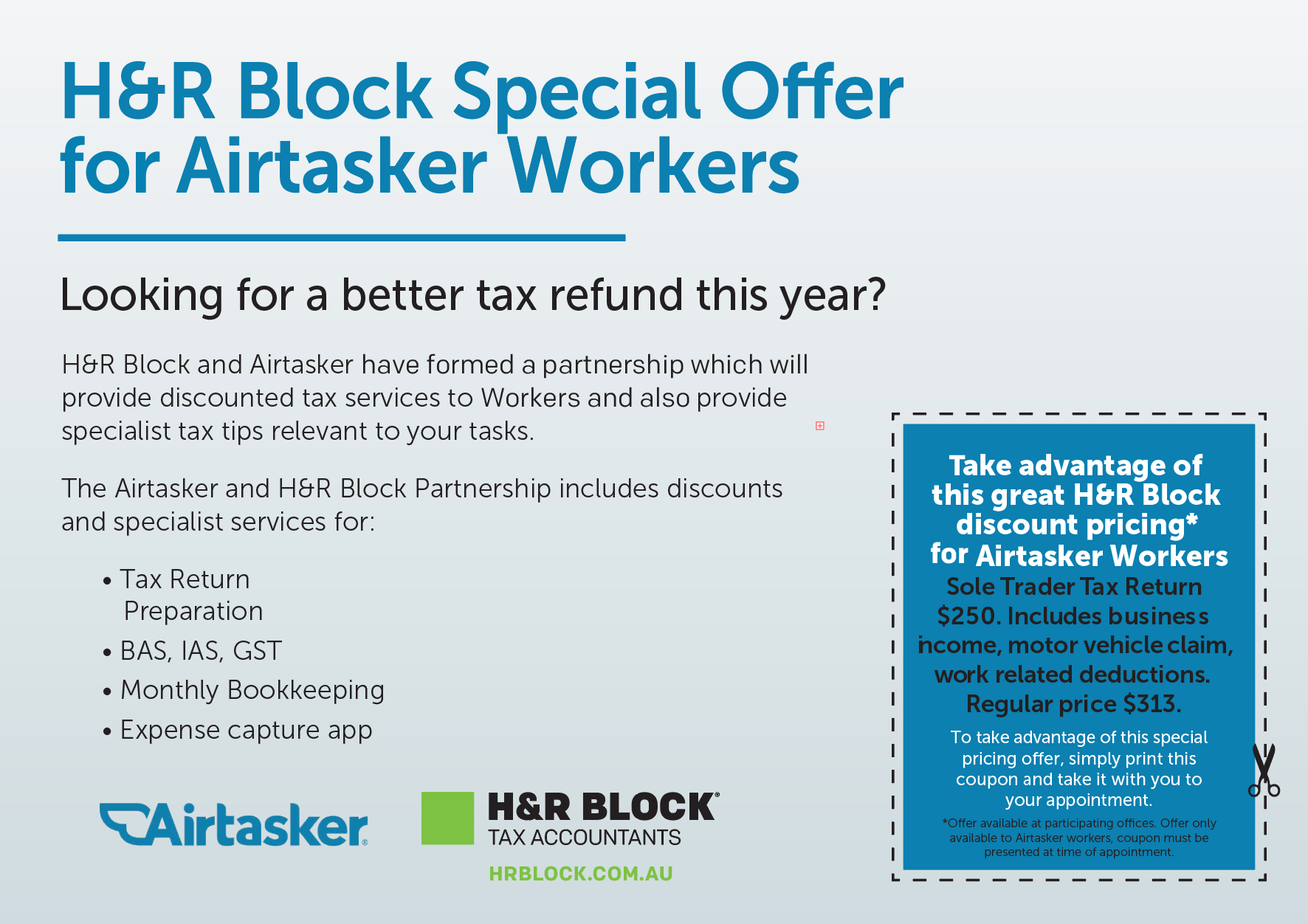 H&R block Airtasker Special Offer