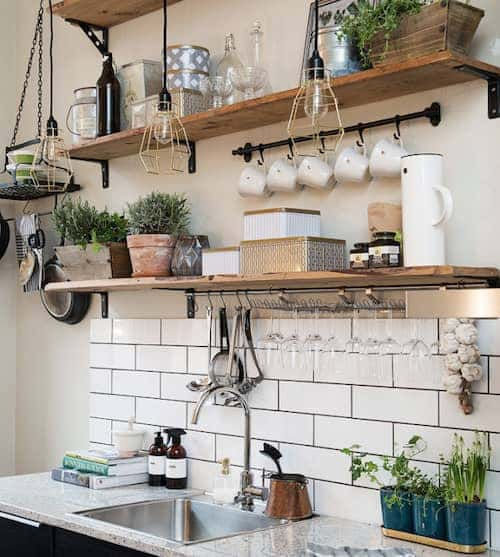 open shelving in small kitchen
