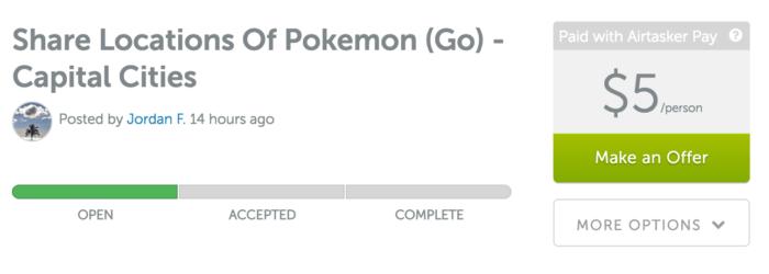 Pokemon GO task on airtasker