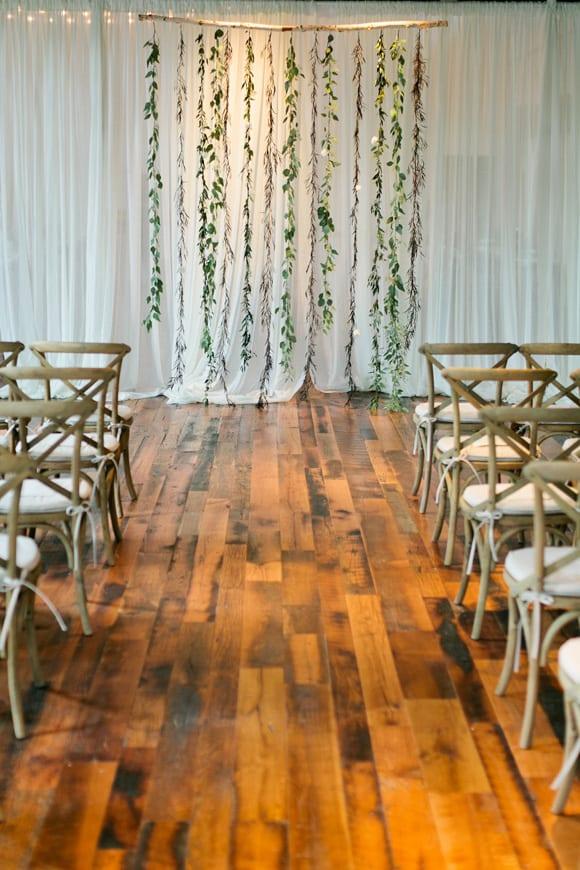 Hanging foliage backdrop | Airtasker wedding DIY ideas