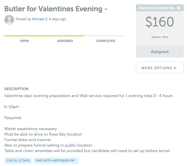 Butler for valentines evening