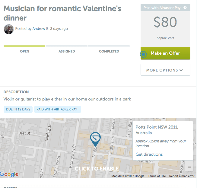 Musician for valentines day dinner