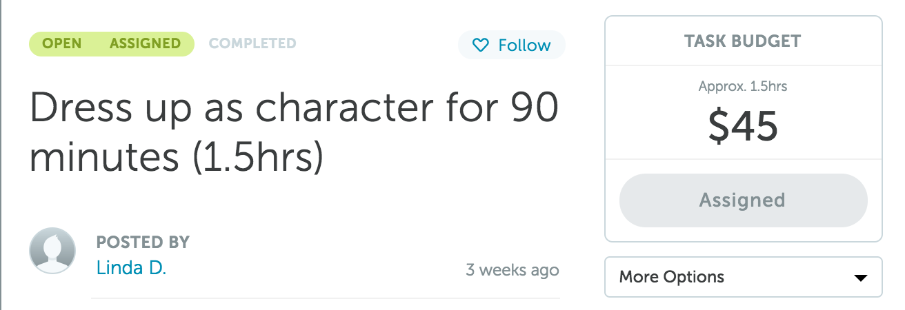Dress up as character for 90 minutes