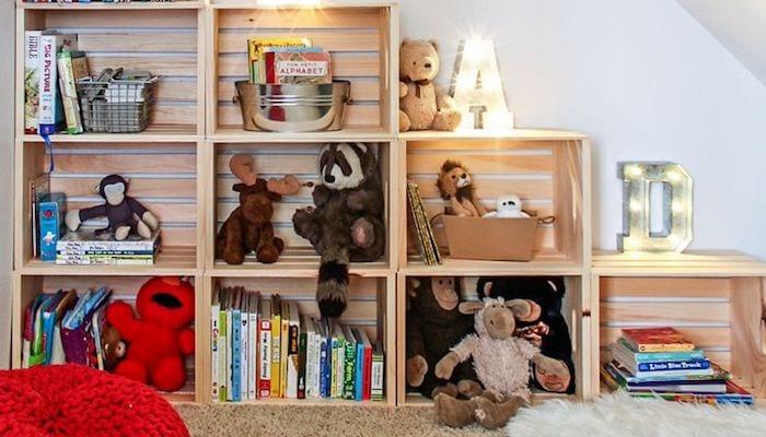 Toys stored in shelves