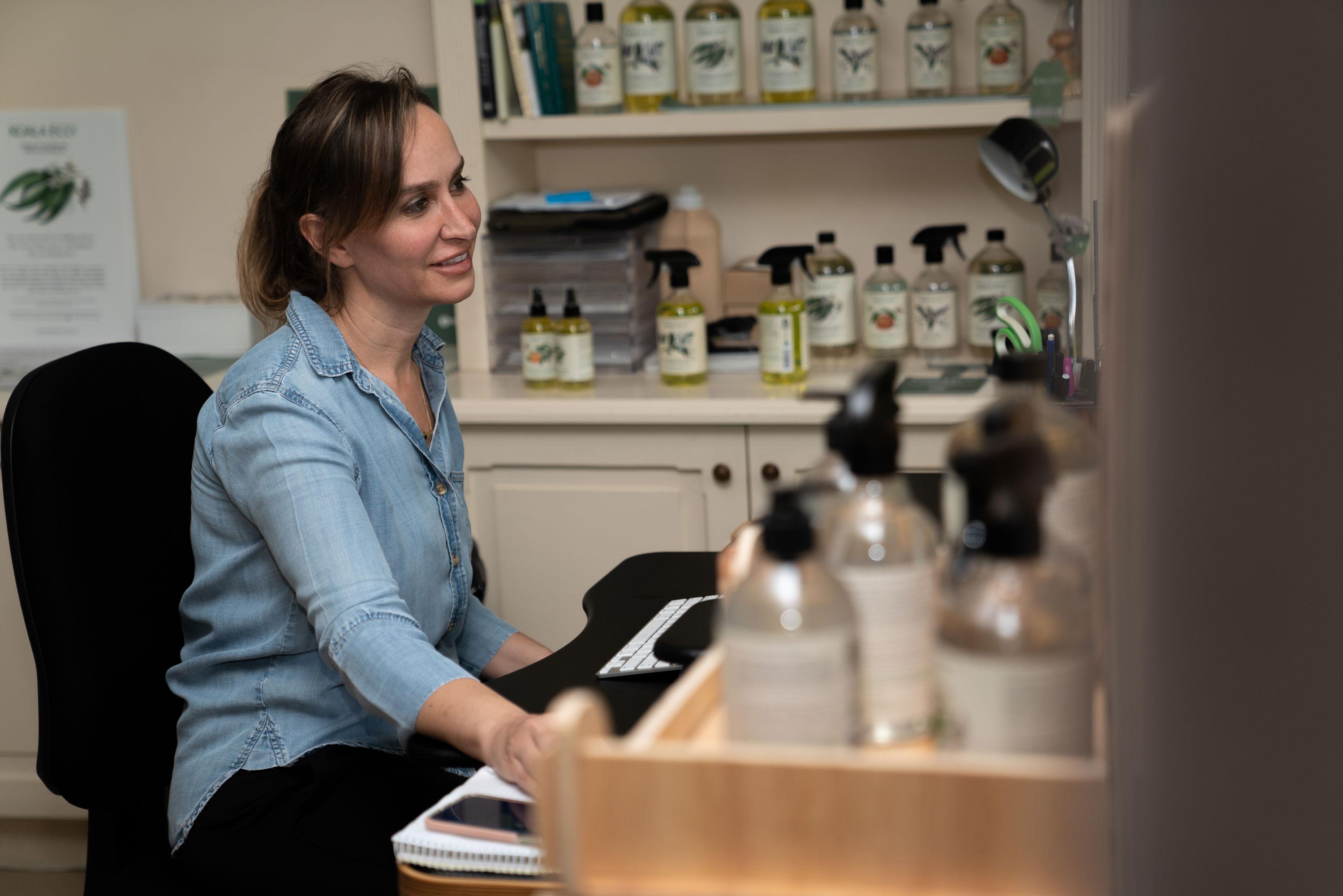 Australian start up founder Jessica of Koala Eco in studio