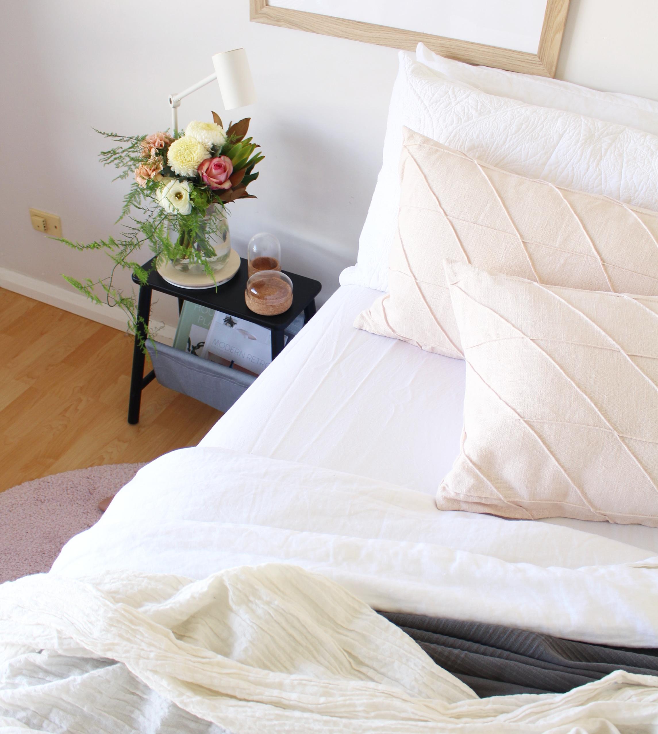 Scandinavian style bedroom styling