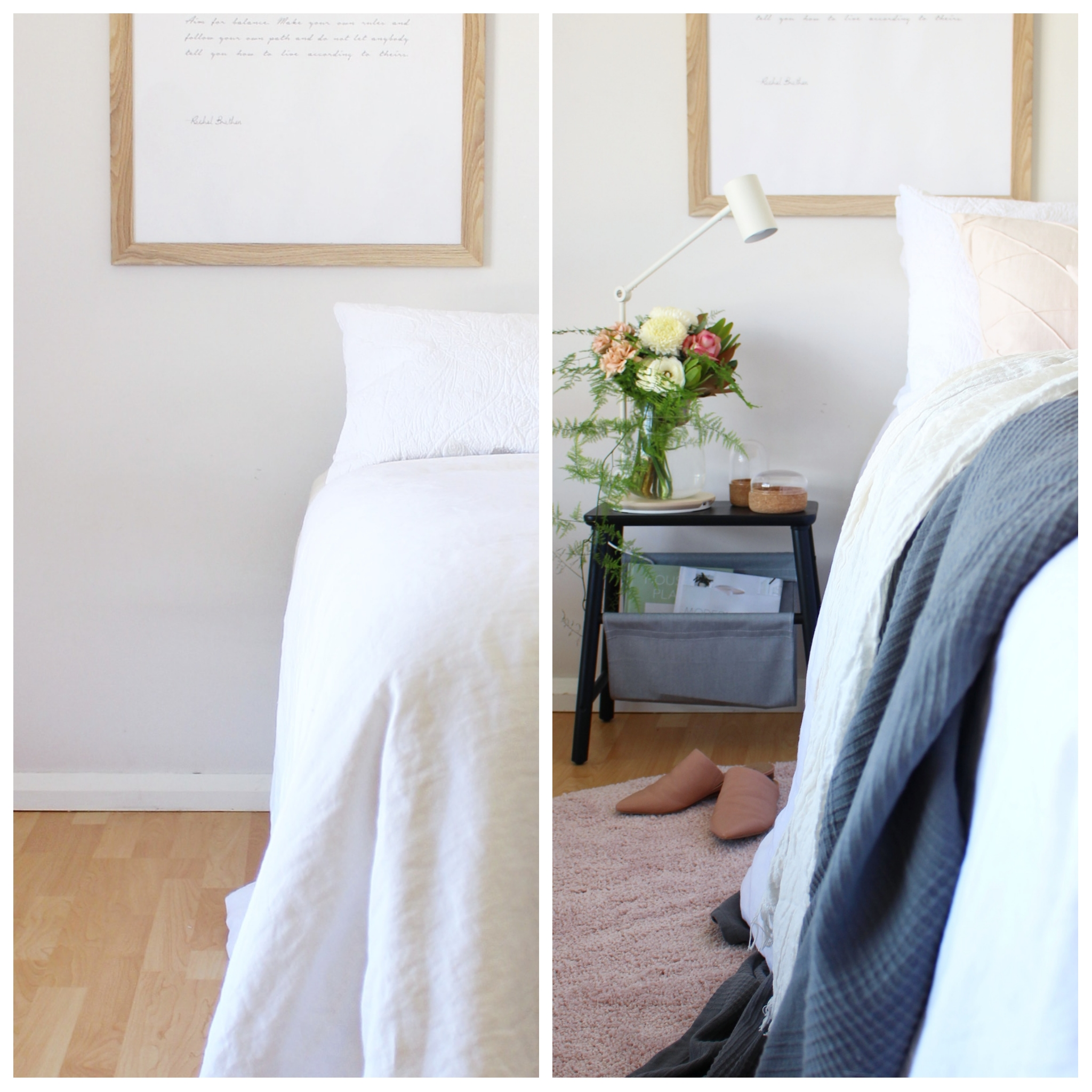 before and after Scandi style bedroom makeover