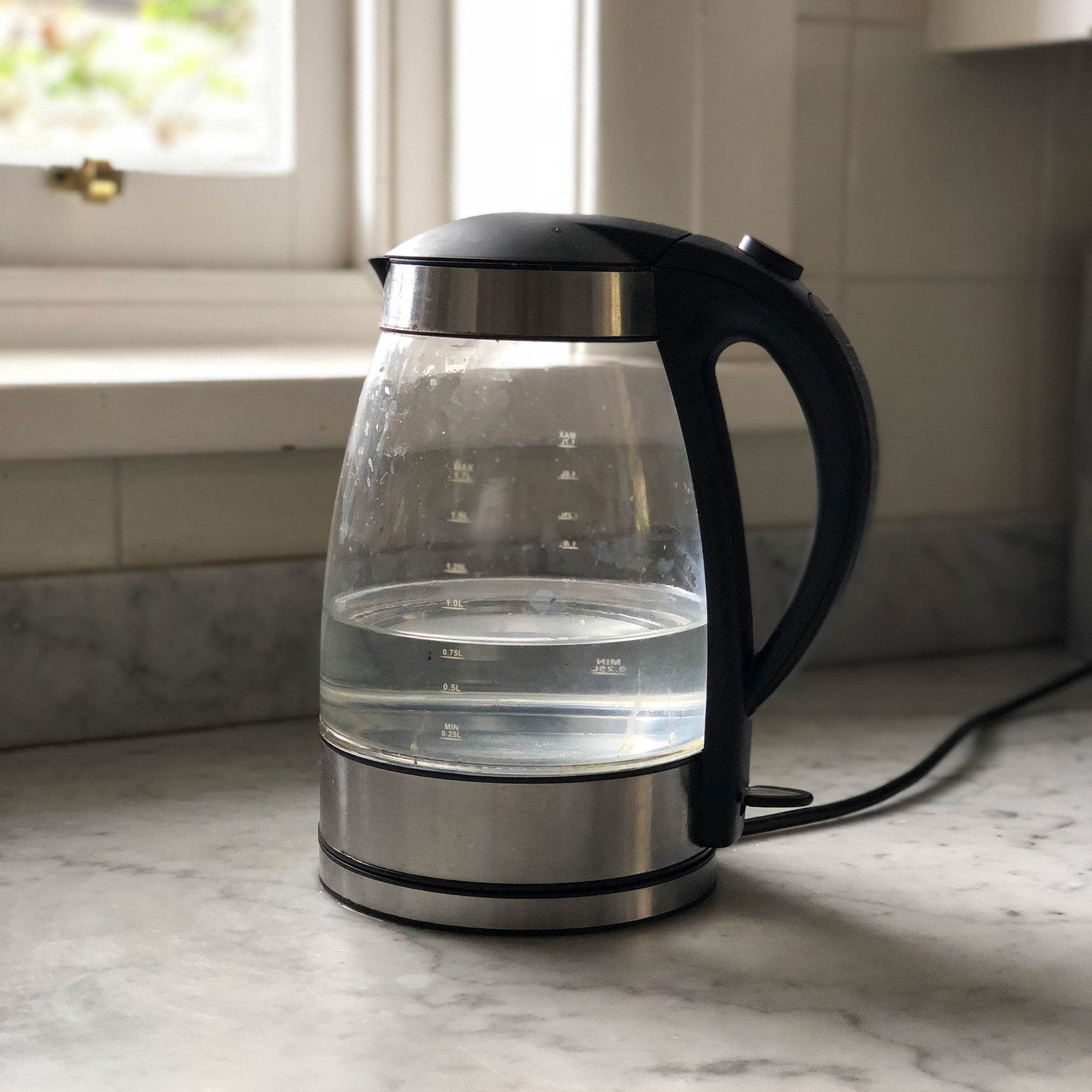 clean clear glass kettle