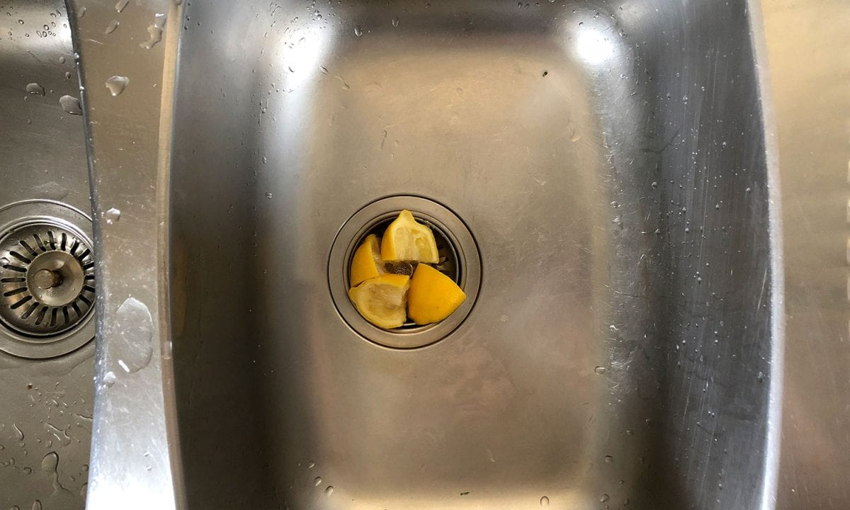 stainless steel sink with lemons