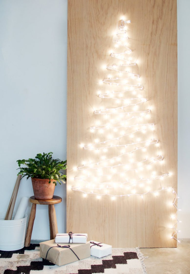 Fairy light Christmas tree DIY