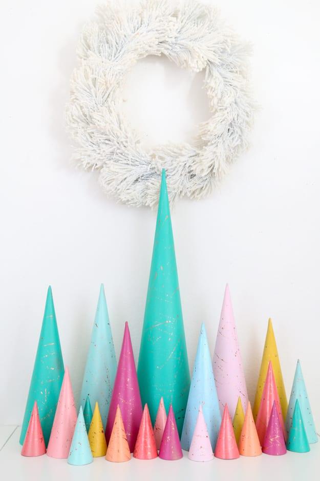 Colourful modern Christmas tree DIY