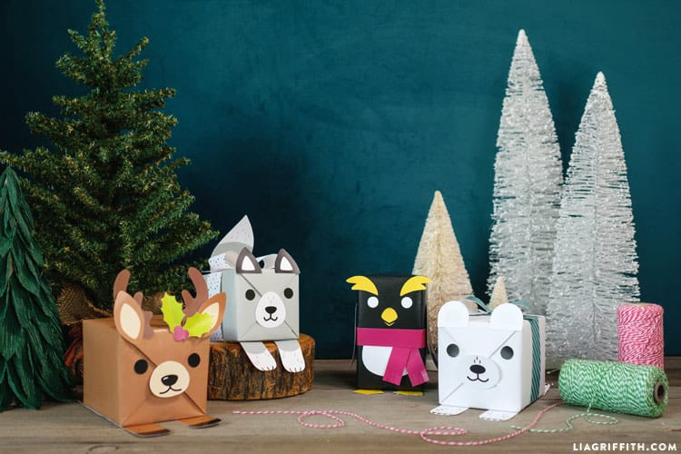 presents wrapped and decorated like animals
