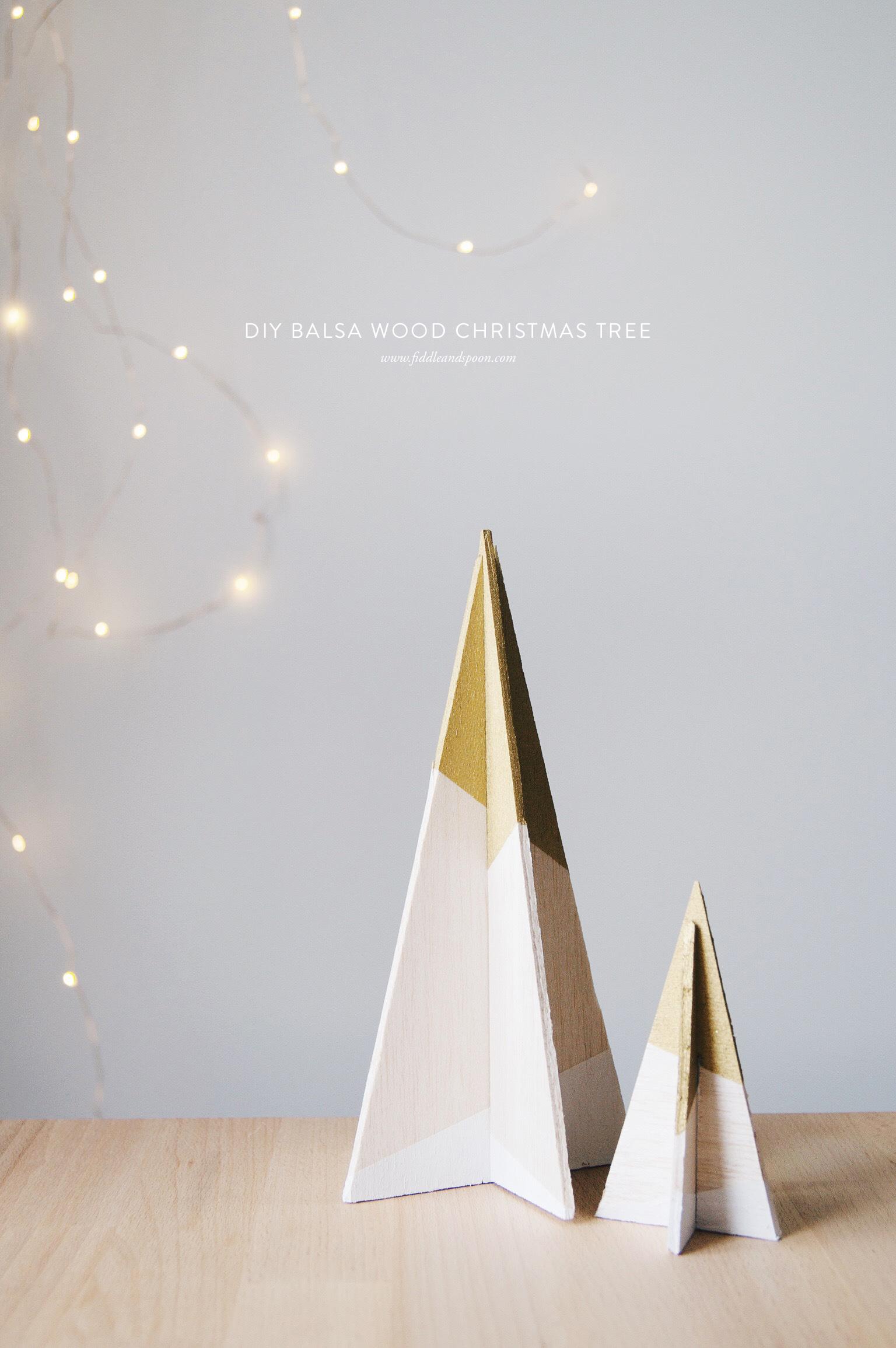 Balsa wood geometric Christmas tree DIY ornaments