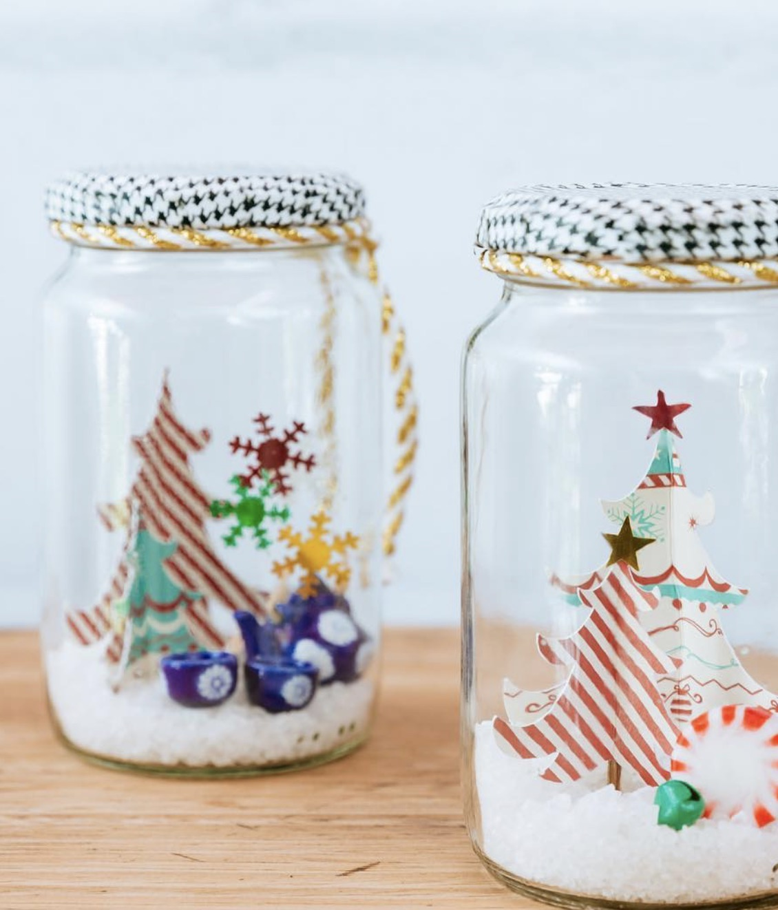 Christmas snow globe terrariums in jars