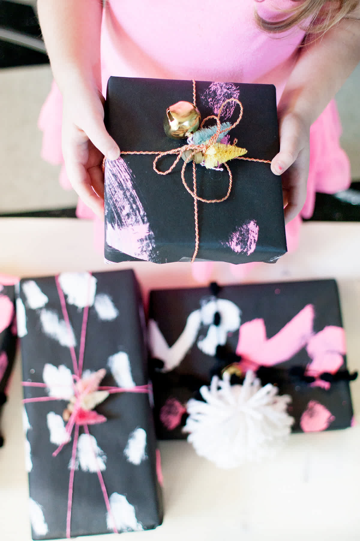 Pink painted gift wrapping