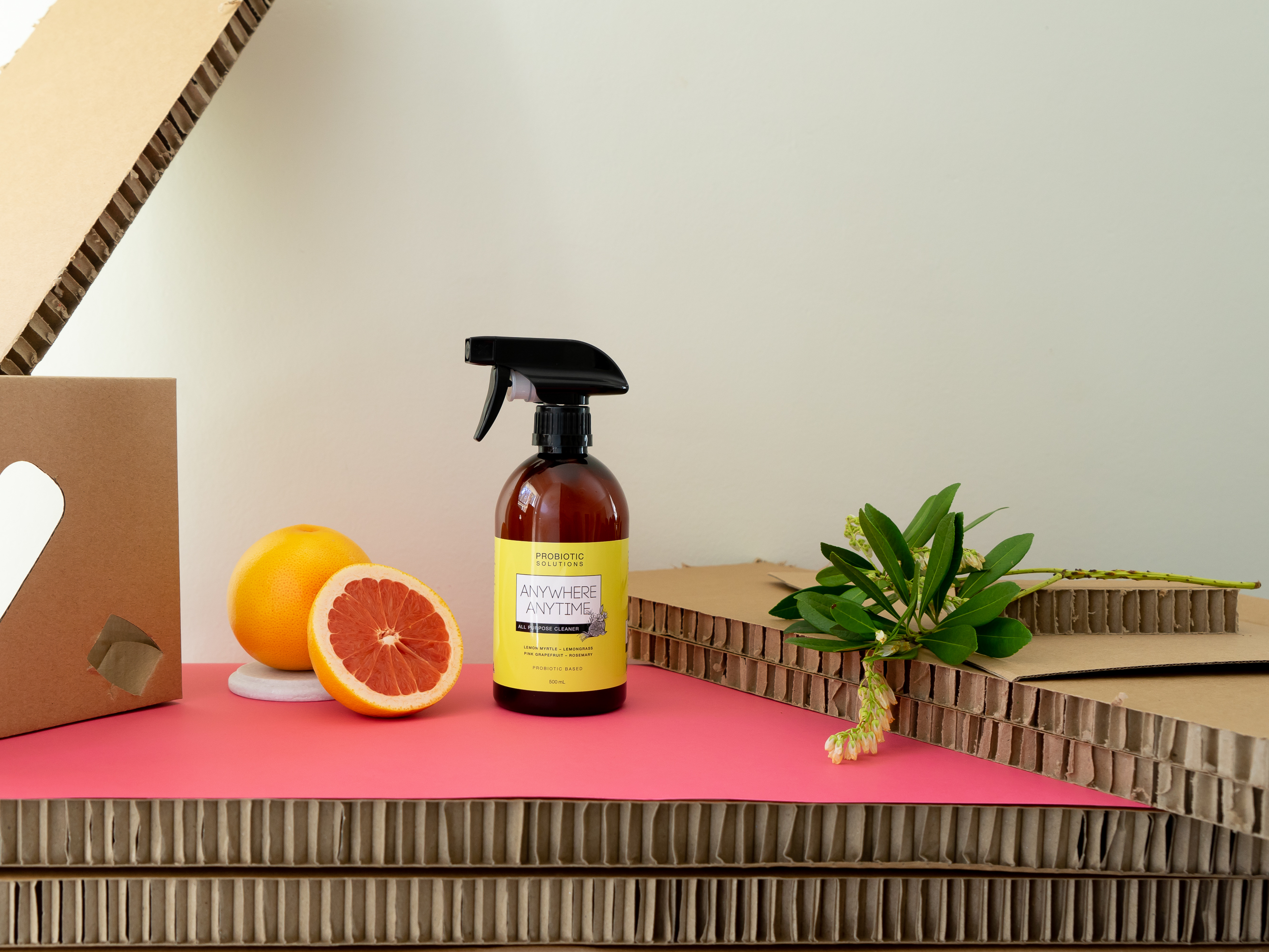 Probiotic Solution eco cleaning spray with pink grapefruit