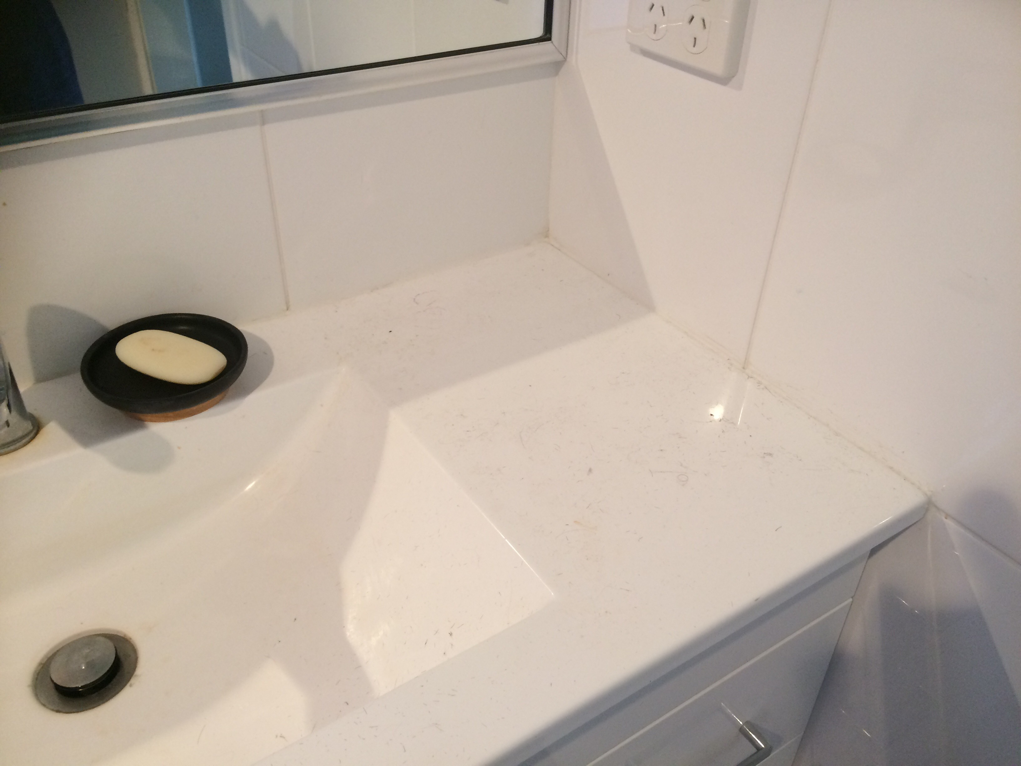 Probiotics Solution bathroom sink clean before