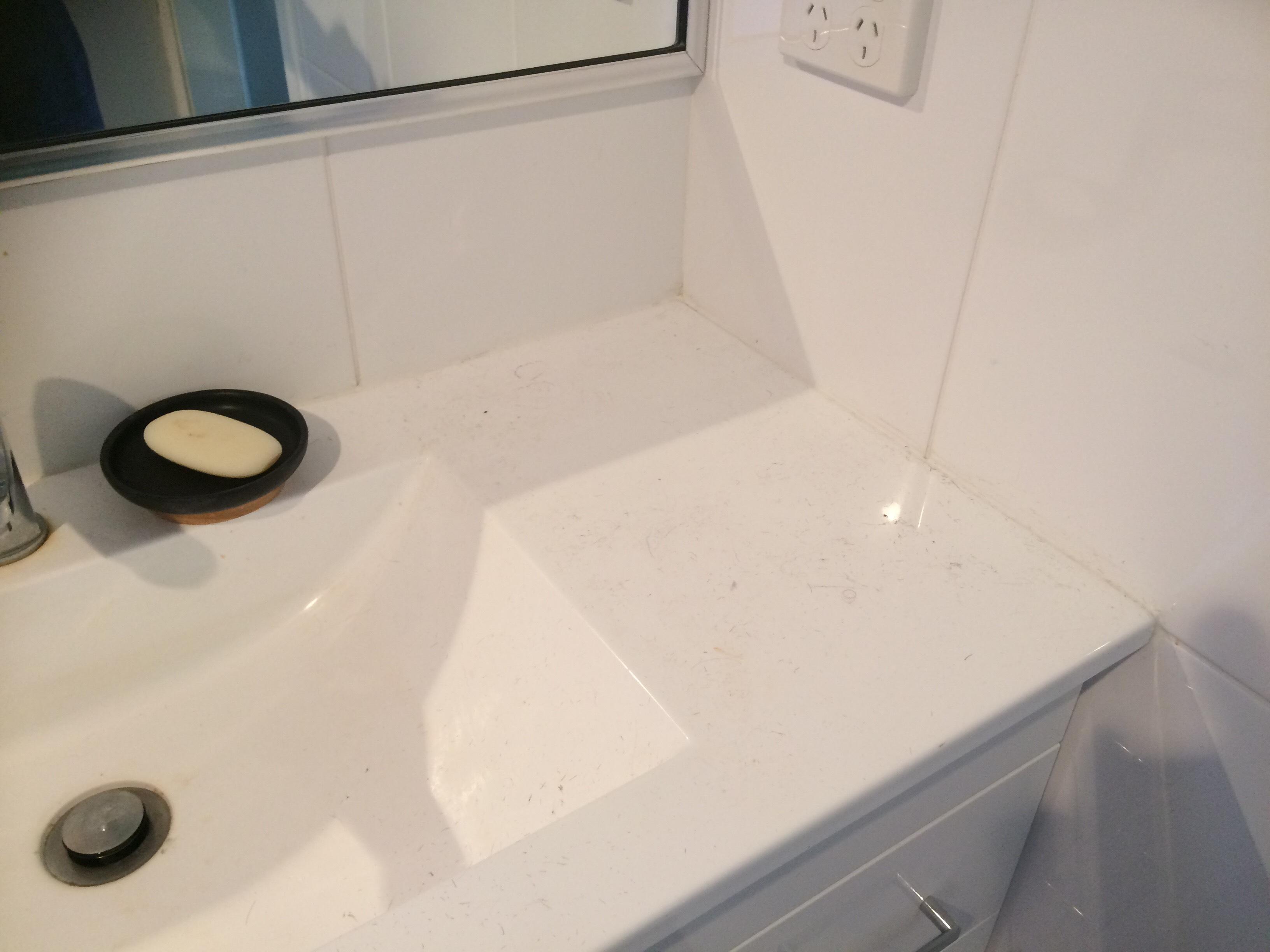 Probiotics Solution bathroom sink clean before