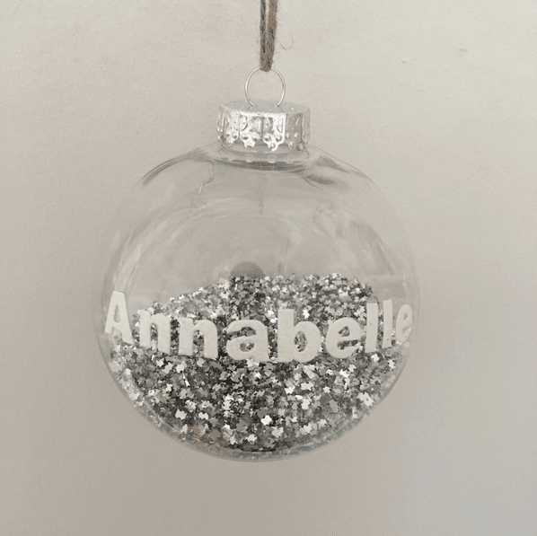 silver Christmas bauble customise with name