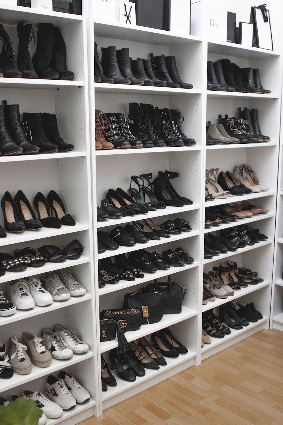 Ashleigh D'Mello bookshelves filled with shoes