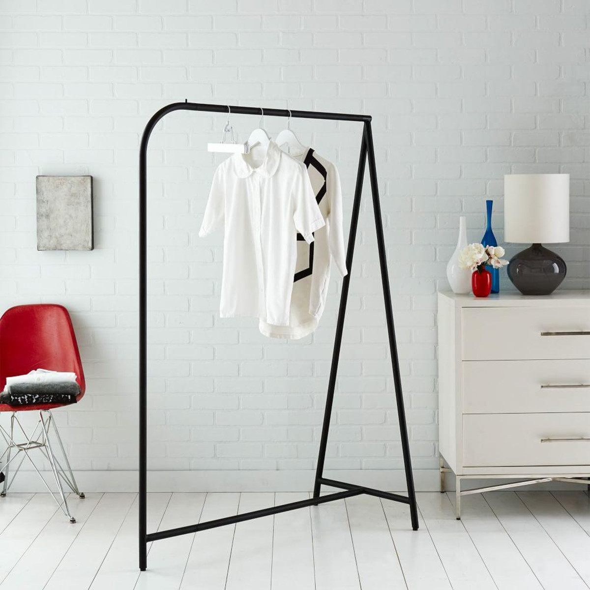 West Elm black modern garment rail