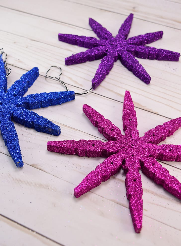 Glitter Christmas DIY ornaments made from clothes pegs