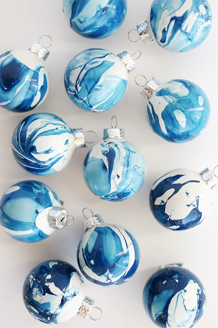 blue marbled Christmas baubles