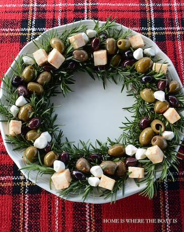 Rosemary antipasto platter with cheese and olives