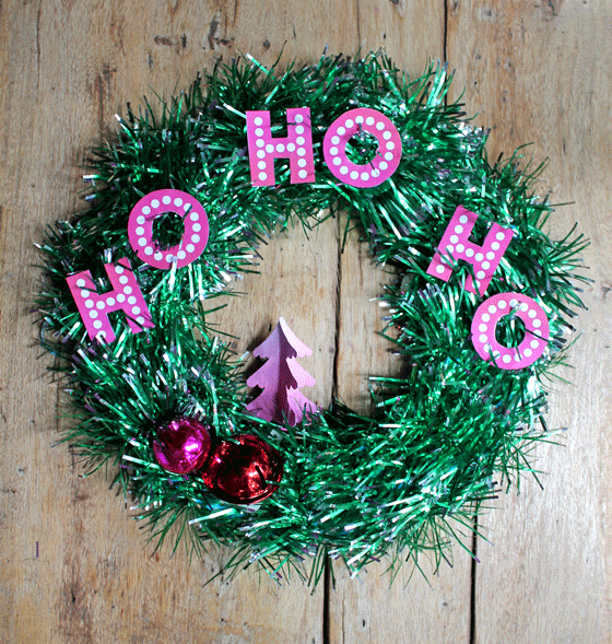 Ho Ho Ho tinsel Christmas wreath