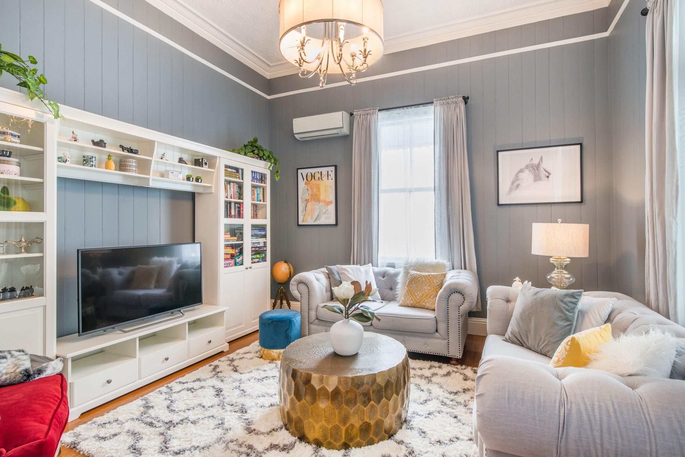 203 Kent St stylish Airbnb living room interior