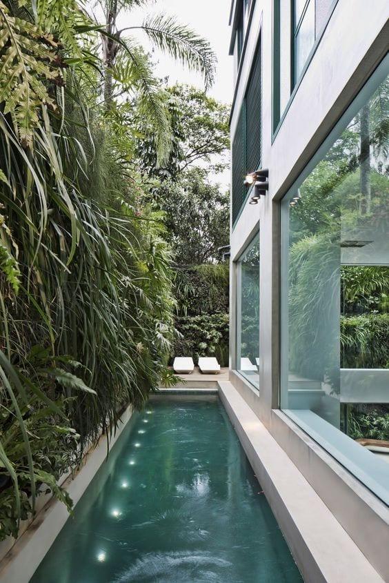 lap pool lighting idea in backyard