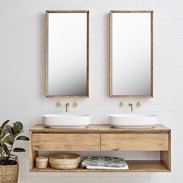 timber floating double vanity