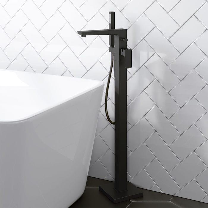 Black bath floor tap
