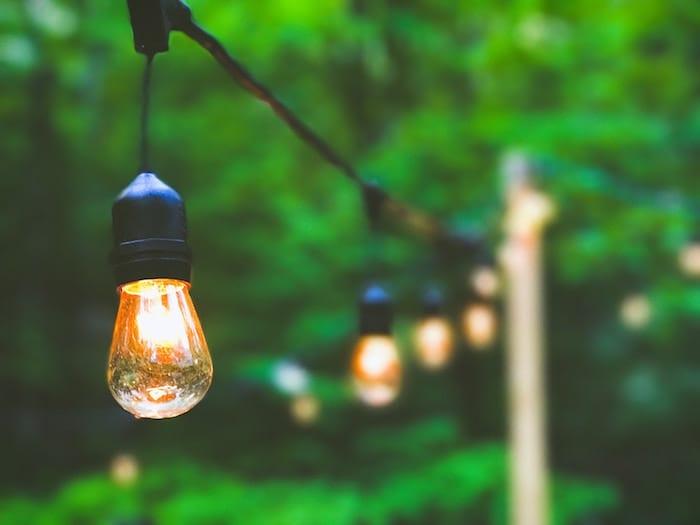 Backyard festoon lights