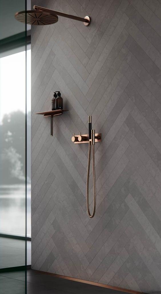 Matte black bathroom tiles