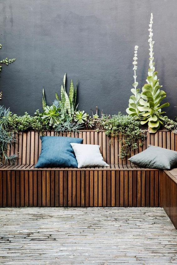 backyard in-built bench seating