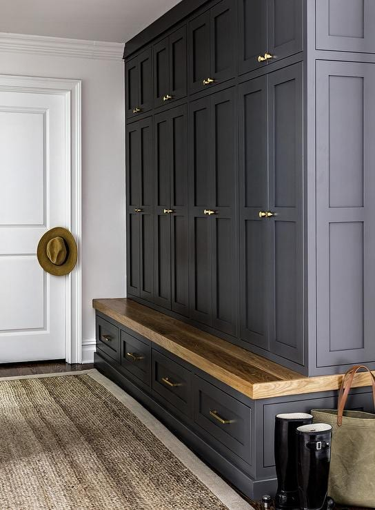 mudroom ideas dark cabinets and joinery