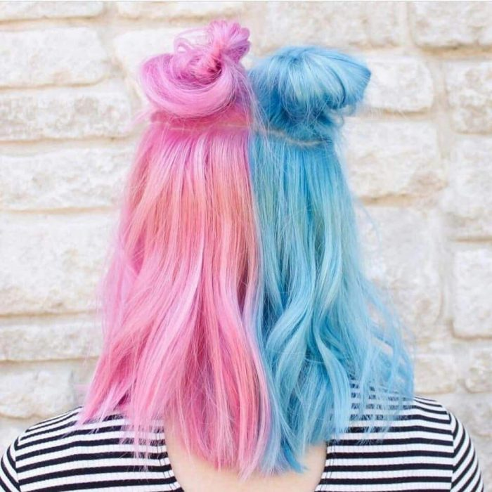 pink and blue hair gender reveal ideas