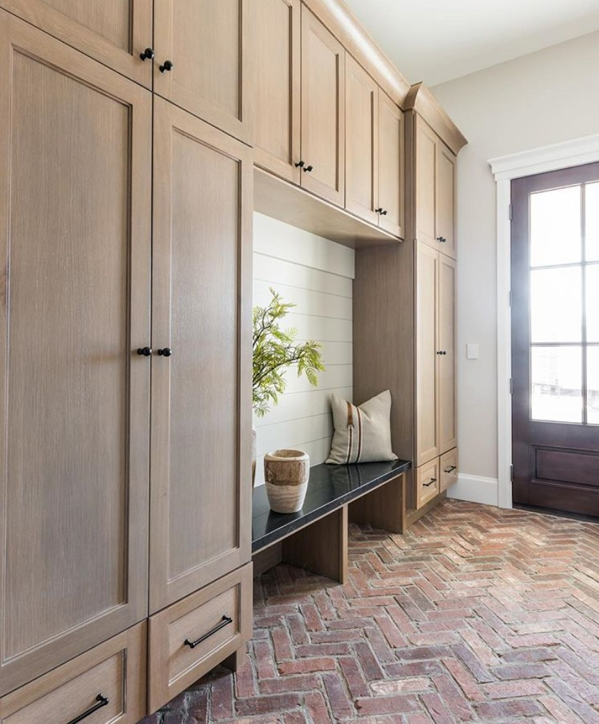 timnber joinery in mudroom