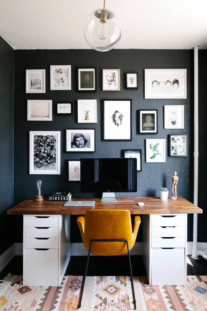 home office ideas with dark walls and gallery of images
