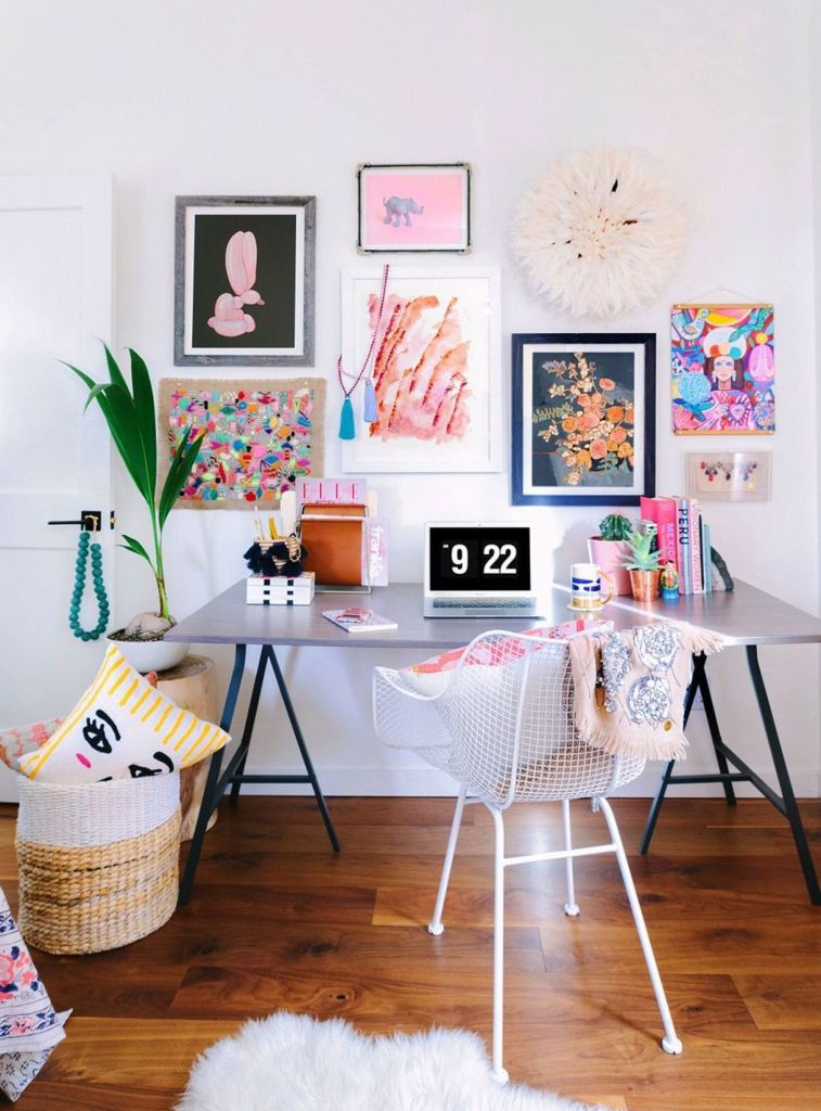colourful boho home office ideas