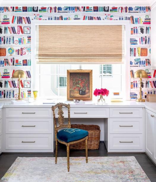 colourful wallpaper for home office