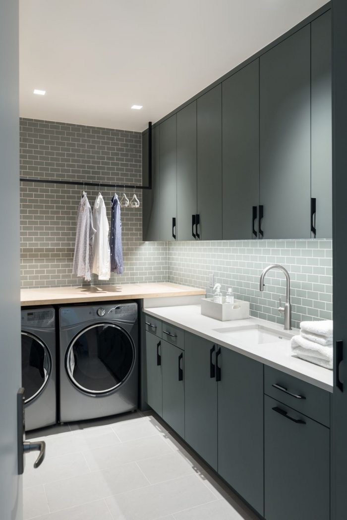 green-laundry-cabinets