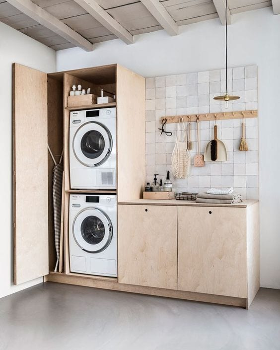 natural-wood-laundry-cabinets