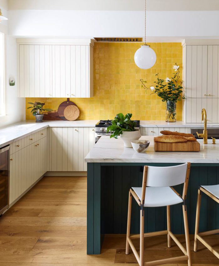 Yellow kitchen splashback