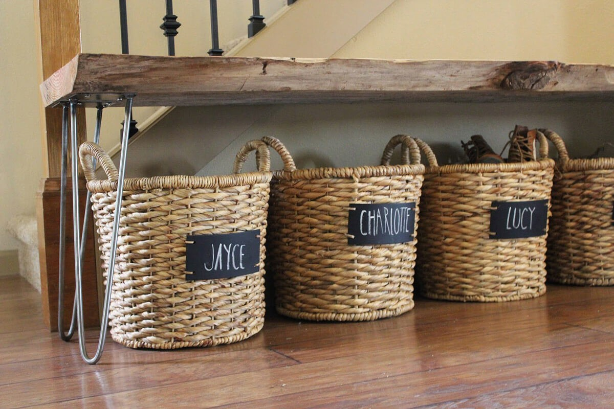 baskets with chalkboard signs